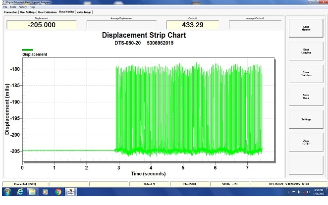 MT-4 sensor displacement strip chart