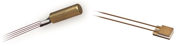 CernoxTM RTDs offer a wide range, low magnetoresistance, and fast thermal response. (Lake Shore CX- AA [left] and CX-SD sensors)