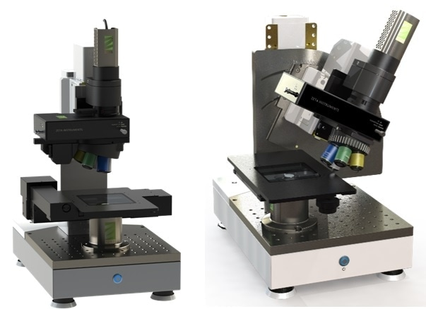 Left: Zeta Instruments' Zeta-20 3D Optical Profiler; Right: The modified Zeta-20, with tilt-head, originally built for Dr. Rebecca Kramer's Faboratory at Purdue University, and now a standard option available to customers.