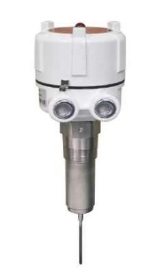 A vibrating rod features a single probe design that prevents material from bridging and giving a false signal.