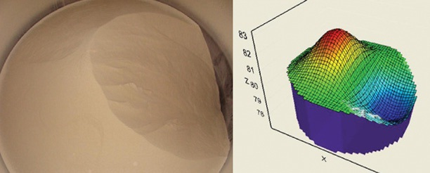 The image on the left shows the irregular material surface during the empty cycle; the image on the right is the 3D visual representation created by the software.