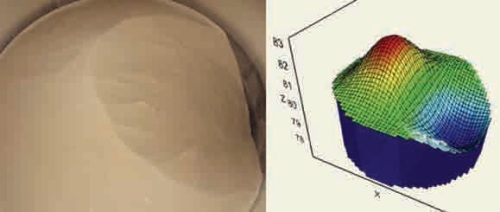 The image on the left shows uneven bin material. The graphic representation generated by the mapping software is on the right.