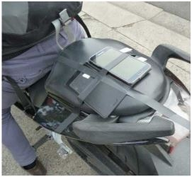 During the prototype testing, the smartphone receiving the force feedback data was mounted on the back of the bike. (1)
