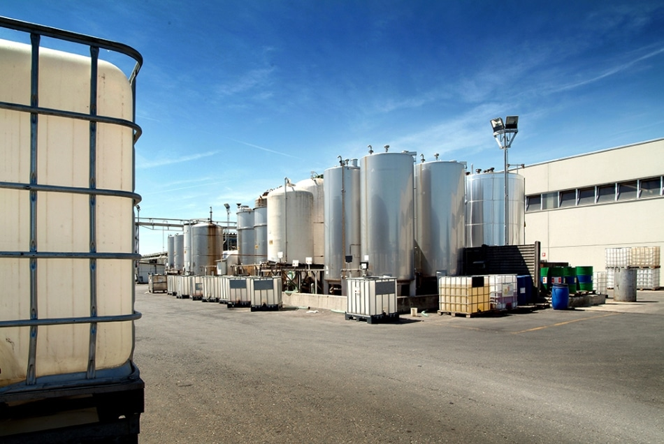 Storage of various chemicals in tanks.