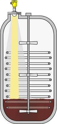 A radar beam with 80 GHz only reflects from the product surface. A wider radar beam with 26 GHz also reflects from internal fixtures and agitators.