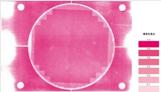Pressure indicating film produces an image of the pressure applied across the sensing area. The user then determines the pressure measurement based off the color chart provided.