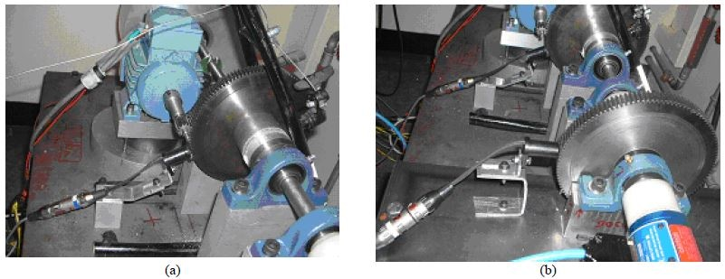 Photograph of the speed transducer for (a) ring and (b) dynamometer