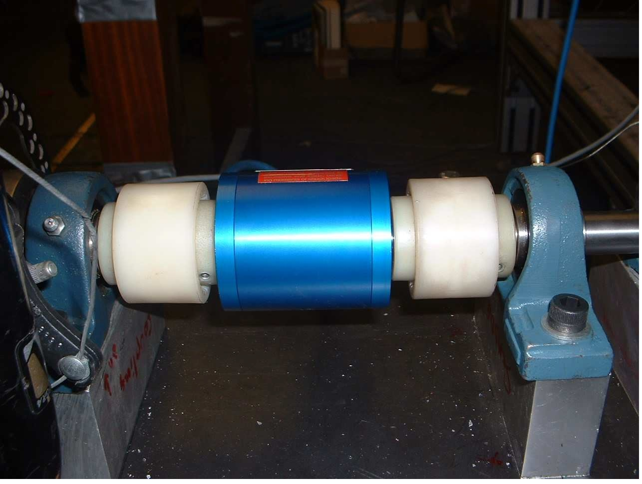 Photograph of torque transducer installed on shaft
