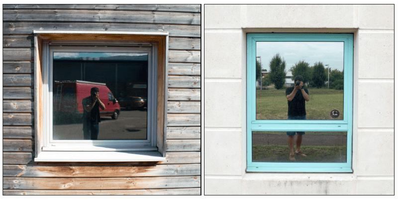Terabee control window (left): Metallic coated window (right)