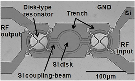 Mechanically-coupled piezoelectric disk-type MEMS resonators.