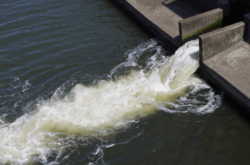 Water flowing from a weir