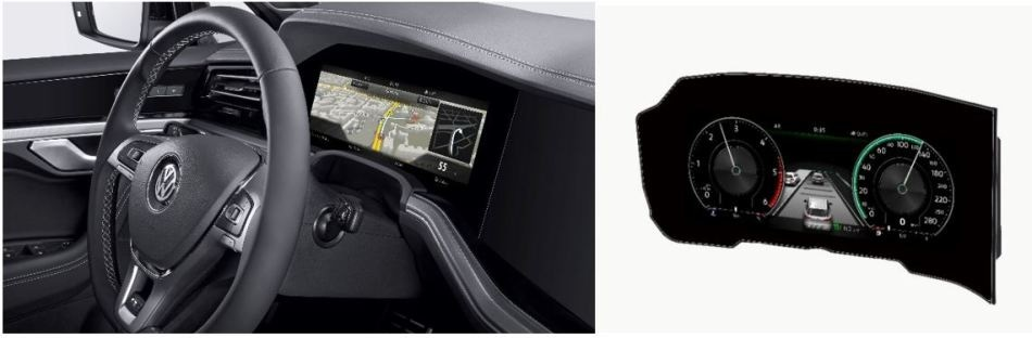 A curved instrument panel display by Bosch manufactured for the 2019 Volkswagen Touareg, shown inside (left) and outside the vehicle (right). (Source: Bosch)