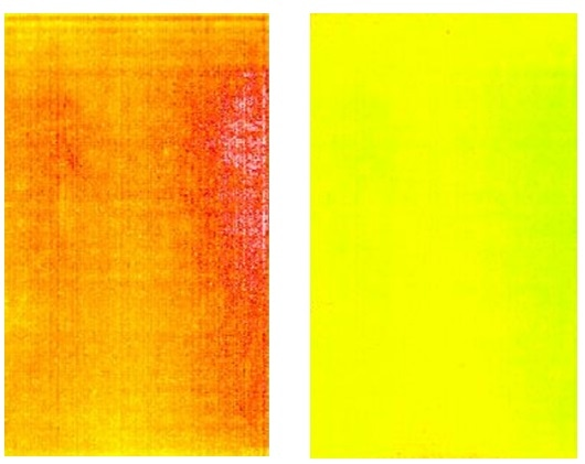 Captured images of a blue test screen on an OLED display before and after demura correction (shown using false color to illustrate luminance levels).