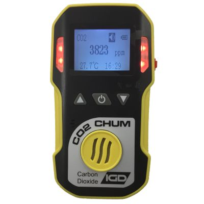 The portable CO2-CHUM gas monitor from IGD. Able to detect at 0-5000ppm and very user friendly. Featuring a highly sensitive sensor and USB charging capability. Able to order online for next day delivery.