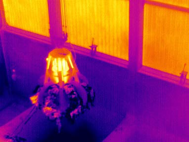 The Optris infrared cameras produce a thermal image, showing critical temperatures.