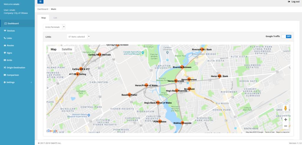 Map of virtual sensor locations