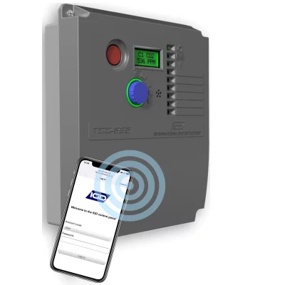 TOCSIN 635 gas detection control panel using built in wifi module for calibration and service reports.