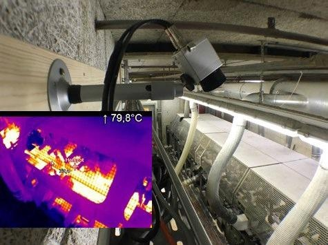 The installed PI 640 and the related IR image