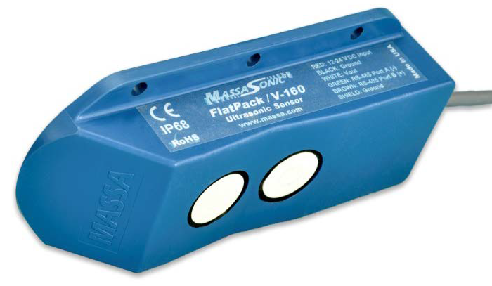 Photograph of a MassaSonic™ FlatPack™ sensor that uses one transducer to transmit the sound pulse and a second transducer to receive the returned echo.