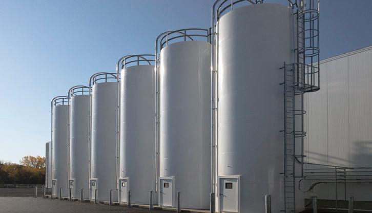 Storage silos for plastic pellets.