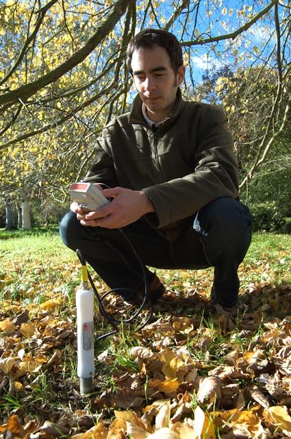 Taking a portable reading with PR2 soil moisture probe.