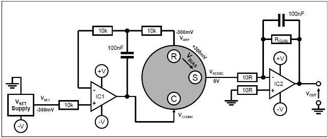 Biased sensor circuit with split power rails