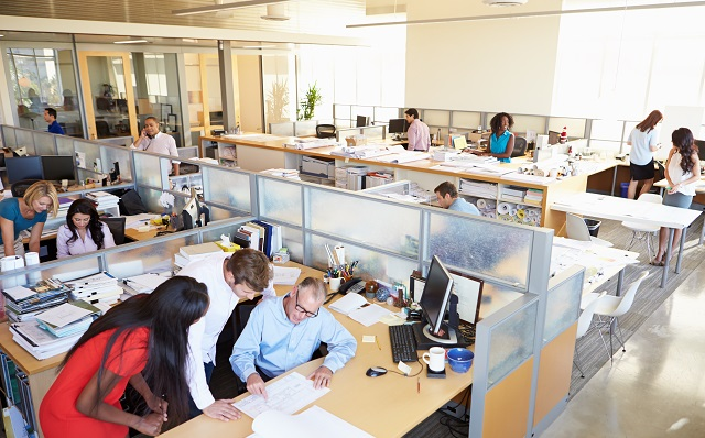 Busy office spaces like this can result in poor air quality as people breathe out CO2