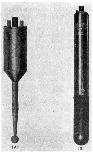 Early model of sound pressure measurement hydrophones (A) used Rochelle salt. Later model (B) used ADP crystals.
