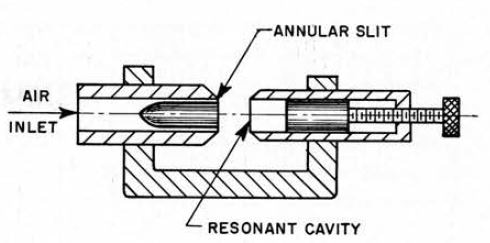 Construction of a Galton ultrasonic whistle