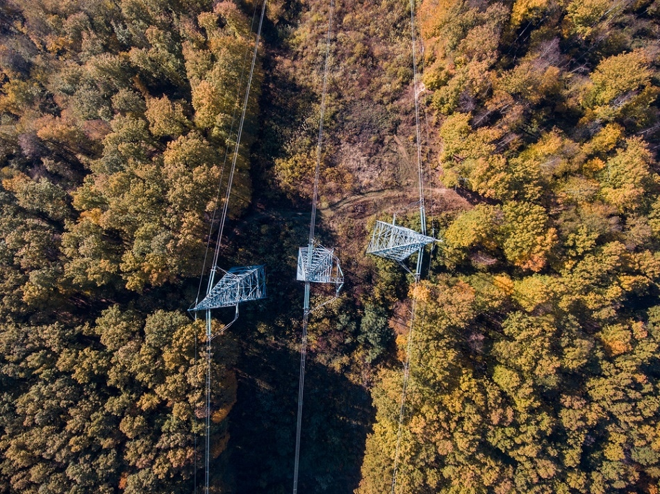 Industrial Camera technology alongside a UAV can also be used to inspect large scale infrastructure such as power lines.