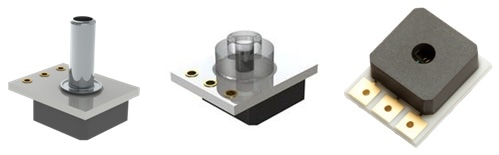Merit Sensor harsh-media, extended-temperature sensors are available with optional ferrule (left), polycarbonate pressure ports (middle) for radial pressure sealing and standard face seal (right). Solder pins are also available to simplify system design.