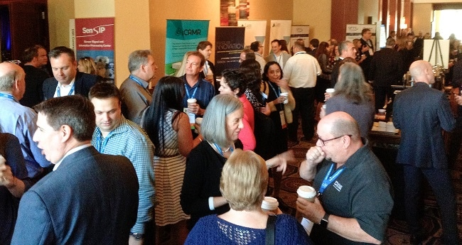 Attendees mingle during a break at MSEC 2016 in Scottsdale.