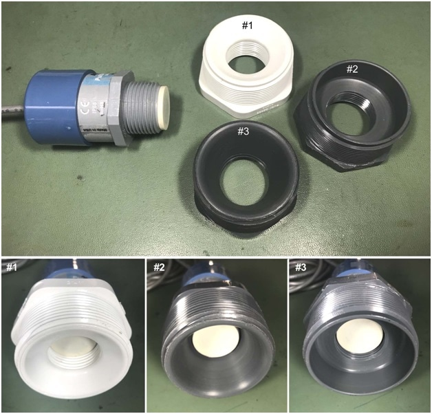 Picture of MassaSonic® PulStar® sensor & different fittings used for testing