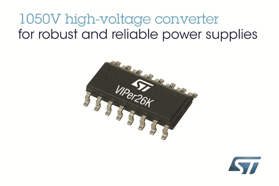 New VIPer Converter from STMicroelectronics Features Market's Highest MOSFET Breakdown Voltage, 1050V, for Robust and Reliable Power Supplies