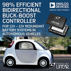 98% Efficient Bidirectional Buck-Boost Controller for 12 V-12 V Redundant Battery Systems in Autonomous Vehicles