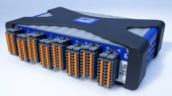 The QuantumX MX1615 is a 16-channel conditioning module that supports quarter-, half-, or full-bridge strain gauge configurations, as well as voltage and PT100 inputs.