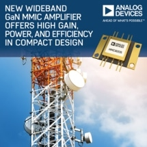 Analog Devices' Wideband GaN MMIC Amplifier Offers High Gain, Power and Efficiency in Compact Design