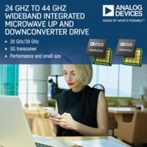 24 GHz to 44 GHz Wideband Integrated Microwave Up & Downconverter Drive 28/39 GHz 5G Transceiver Performance & Small Size