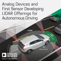 Analog Devices and First Sensor Developing LIDAR Offerings to Accelerate the Future of Autonomous Driving